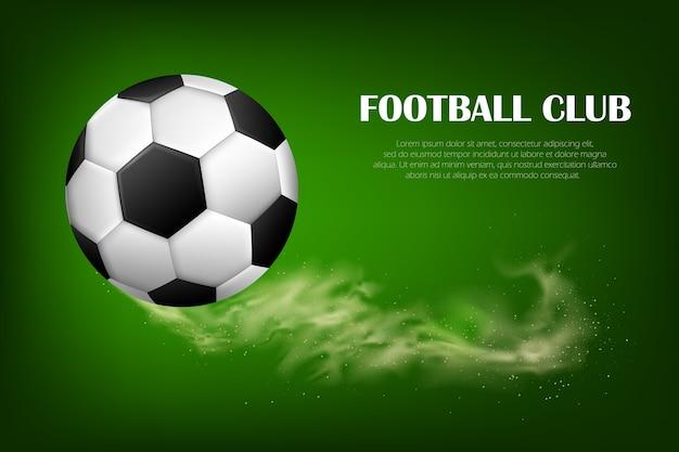 Voetbal bal vliegen. sportvoorraadwinkeladvertentie, competitie, ontwerpelement voor toernooipromotie.