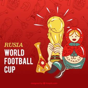 Voetbal beker achtergrond met trofee en elementen