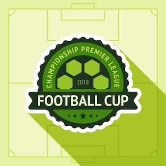 Voetbal beker badge in voetbalveld