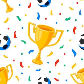 Voetbal beker ballen en confetti naadloze patroon