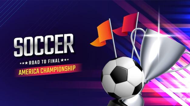 Voetbal beker kampioenschap met bal sjabloon voor spandoek