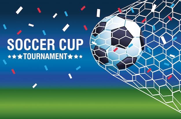 Voetbal beker toernooi poster met ballon doel vector illustratie ontwerp