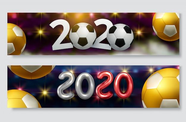 Voetbal beker, voetbal kampioenschap banner set
