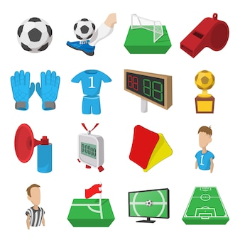 Voetbal cartoon pictogrammen instellen. voetbal pictogrammen