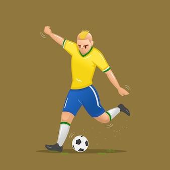 Voetbal cartoon schieten