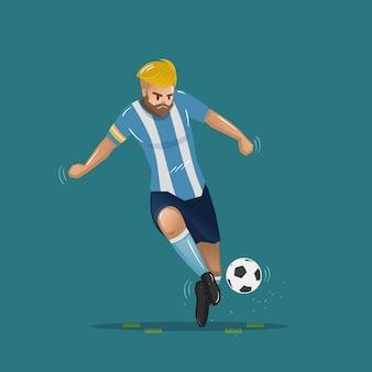 Voetbal cartoon voorbij