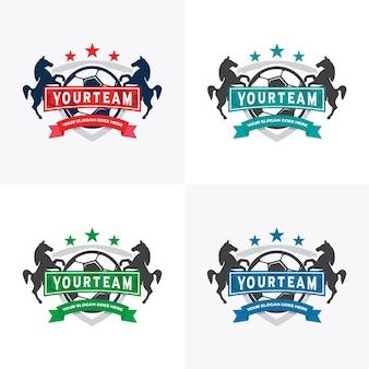 Voetbal club badge met leeuwen en kroon symbool, voetbal club badge