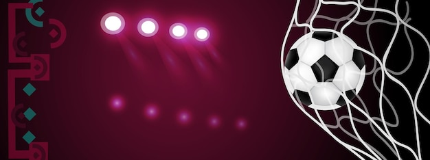 Voetbal competitie. vlag van qatar. voetbalbal en achtergrond. realistische vectorillustratie.