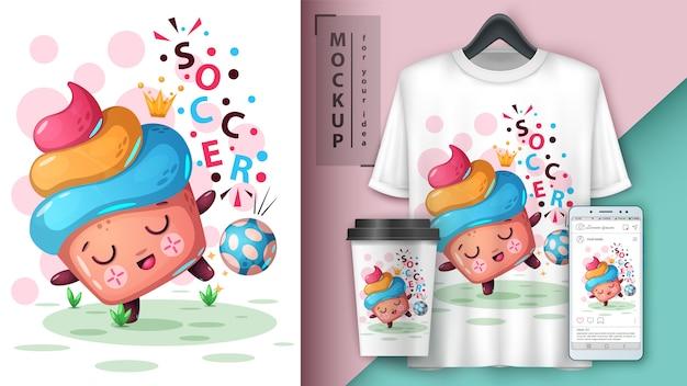 Voetbal cupcake, voetbalillustratie