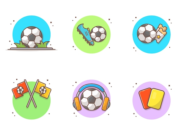 Voetbal element collecties pictogrammen
