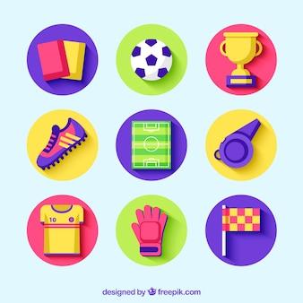 Voetbal elementen collectie met apparatuur in vlakke stijl