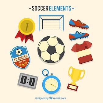 Voetbal elementen collectie met apparatuur