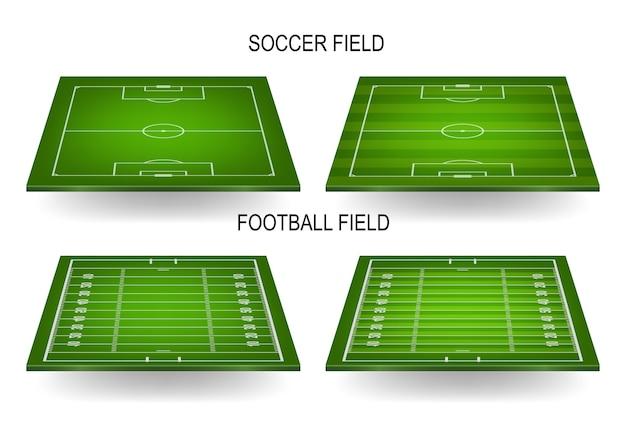 Voetbal- en amerikaanse voetbalvelden met perspectief.