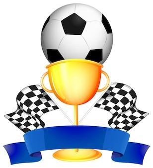 Voetbal en gouden trofee