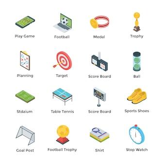 Voetbal en spelen pictogrammen