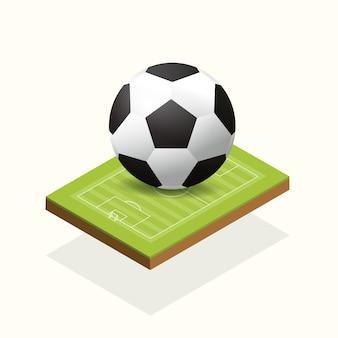 Voetbal en veld elementen isometrisch.