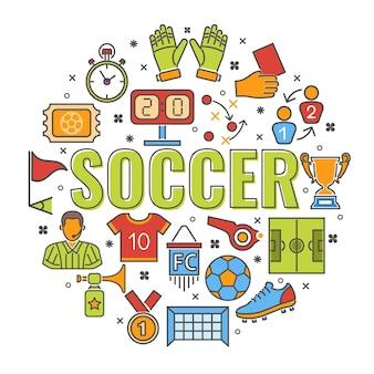 Voetbal en voetbal gekleurde lijn plat pictogrammen scheidsrechter, bal, stadion, trofee.
