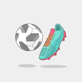 Voetbal en voetbal studds geïsoleerde vectorillustratie