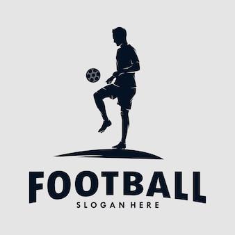 Voetbal en voetballer man logo ontwerp