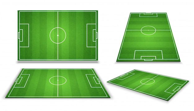 Voetbal, europees voetbalgebied op verschillend punt van perspectiefmening. geïsoleerde vectorillustratie