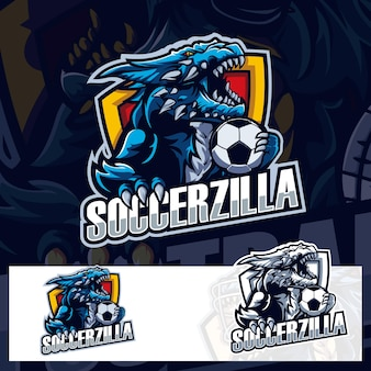 Voetbal godzilla sport logo