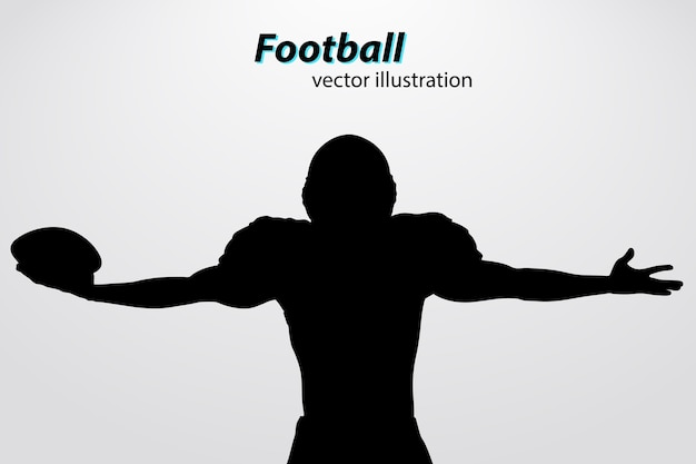 Voetbal helm en hand silhouet