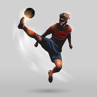 Voetbal hoogspringen kick