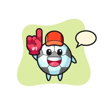 Voetbal illustratie cartoon met nummer 1 fans handschoen, schattig stijl ontwerp voor t-shirt, sticker, logo-element