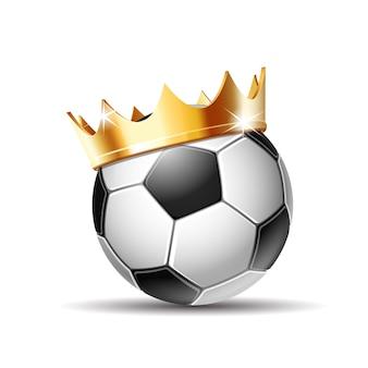 Voetbal in gouden koninklijke kroon