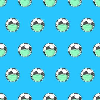 Voetbal in medisch gezichtsmasker naadloos patroon op een blauwe achtergrond. voetbal thema illustratie