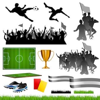 Voetbal ingesteld met verschillende groepen fans
