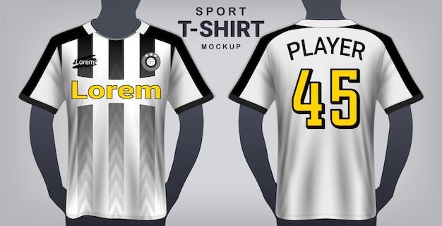 Voetbal jersey en sport t-shirt mockup sjabloon.