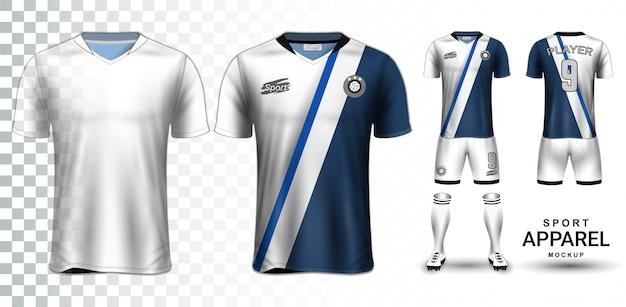 Voetbal jersey en voetbal kit presentatie mockup sjabloon