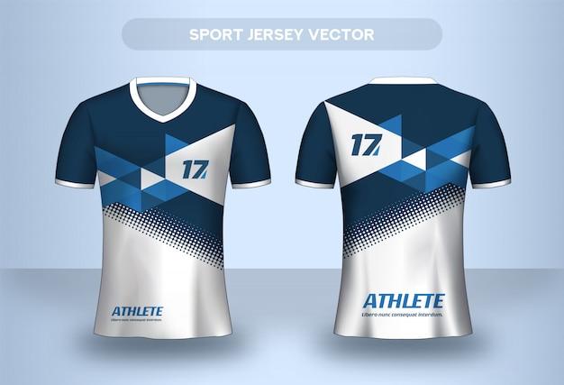 Voetbal jersey ontwerpsjabloon. corporate ontwerp shirt. voetbalclub uniform t-shirt voor- en achteraanzicht.