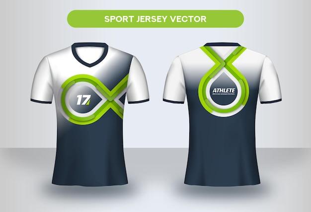 Voetbal jersey ontwerpsjabloon. huisstijl, voetbalclub uniform t-shirt voor- en achteraanzicht.