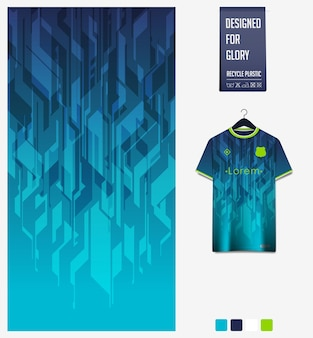 Voetbal jersey stof patroon ontwerp abstract patroon op blauwe achtergrond