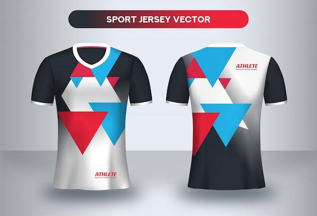 Voetbal jsersey-sjabloon, voetbalclub uniform t-shirt voor- en achteraanzicht.