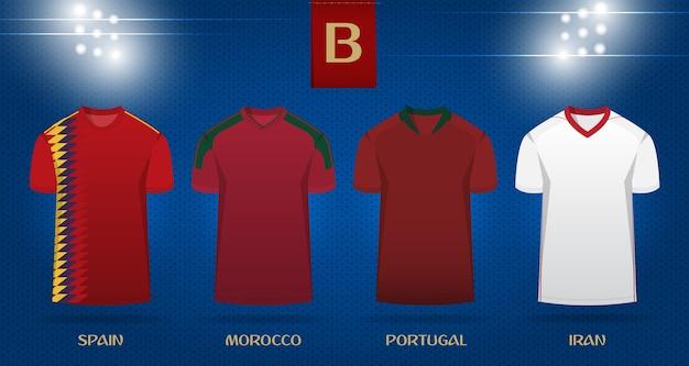Voetbal kit of voetbal jersey sjabloonontwerp voor world cup 2018.
