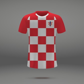 Voetbal kit van kroatië, t-shirt sjabloon voor voetbal jersey