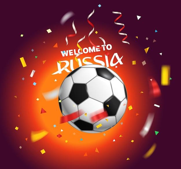 Voetbal met confetti. wereld concurrentie concept