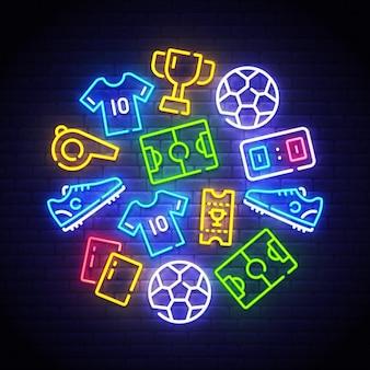 Voetbal neon pictogrammen instellen