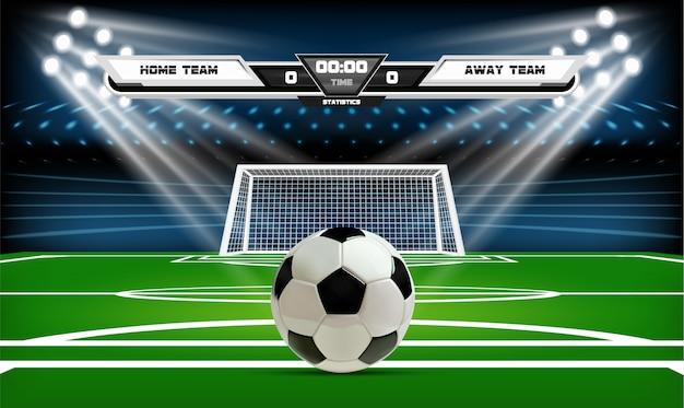 Voetbal of voetbal speelveld met bal.