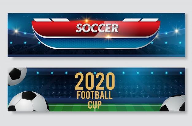 Voetbal of voetbal sport game banner set