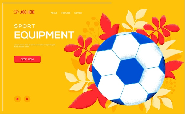 Voetbal- of voetbalflyer, webbanner, ui-koptekst, site invoeren.