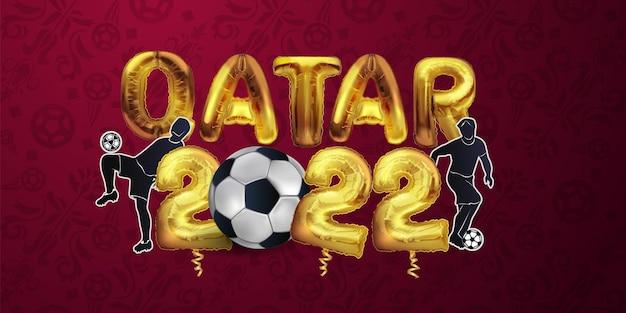 Voetbal of voetbalkampioenschap in qatar folie ballonnen vector illustratie voetbal patroon rode ba...