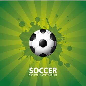 Voetbal ontwerp op groene achtergrond