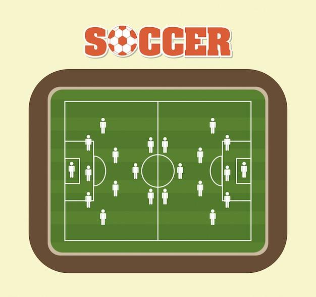 Voetbal ontwerp over crème achtergrond vectorillustratie
