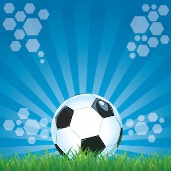 Voetbal op de blauwe achtergrond van het grasstadion.