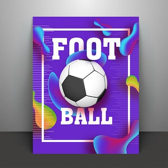 Voetbal op glanzende abstracte achtergrond.