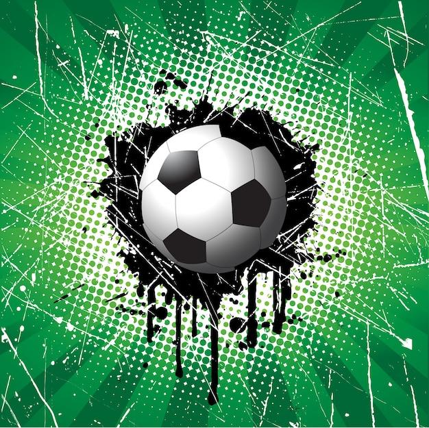 Voetbal op grunge stijl achtergrond Gratis Vector